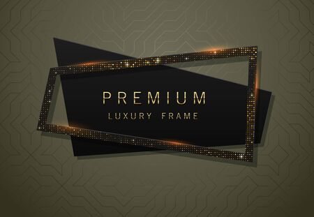Vector geometric black banner with sparkling golden sequins frame. Premium label design for logo or cover tagline. Illusztráció