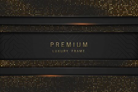 Vector black and gold abstract headline luxury frame. Sparkling sequins on black background. Horizontal line premium label design. Illusztráció