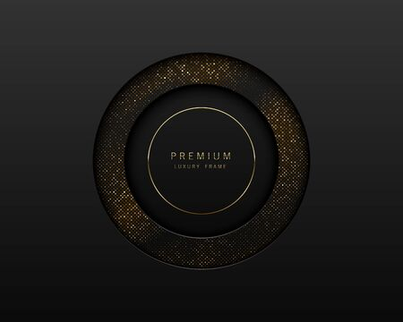 Vector black and gold abstract round luxury frame. Sparkling sequins on black background with golden ring. Premium label design. Vectores