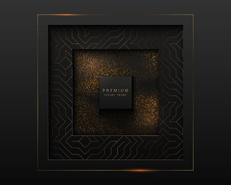 Vector black and gold abstract square luxury frame. Geometric golden pattern, sparkling sequins on black background. Premium label design.