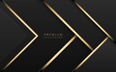 Vector luxury tech background. Stack of black paper material layer with gold stripe. Arrow shape premium wallpaper.