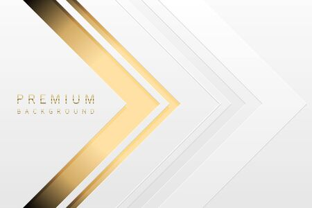 Vector luxury tech background. White paper material layer with gold stripe. Arrow golden shape premium light wallpaper.