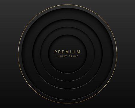 Vector black abstract square paper cut luxury frame. Premium label dark design background. Golden line frame. Papercut layered border. 向量圖像