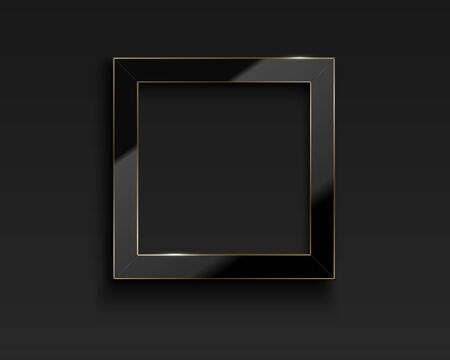 Vector square glossy luxury black and golden line frame. Border for photo, picture, congratulations, quote. Realistic glass frame with reflection gold edge on dark background. Ilustração