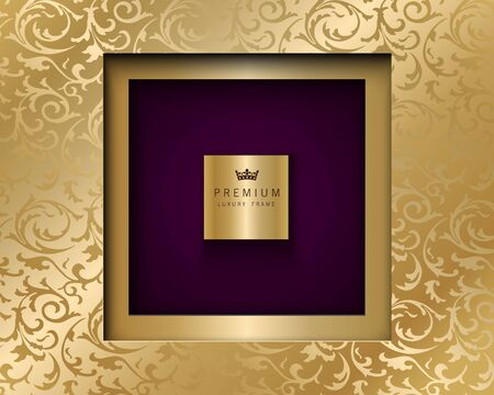 Vector luxury vintage square frame golden background. Vip invitation or announcement card paper cut design. Gold floral pattern and purple color premium backdrop.