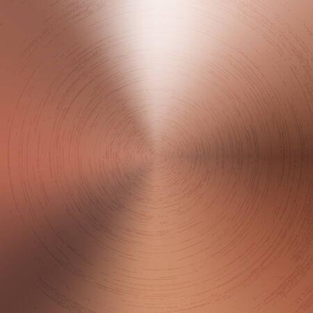 Fondo de metal cobre textura pulida radial. Vector de tecnología con textura de fondo de color cuprum con textura concéntrica pulida y cepillada circular. Oro, latón o bronce.