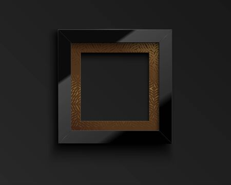 Vector square glossy luxury black frame with golden pattern passepartout. Border for photo, picture, congratulations, quote. Realistic glass frame reflection on dark background.