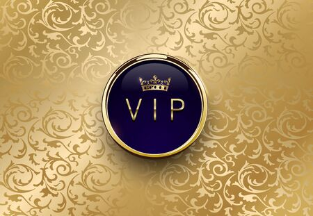 Vip blue label with round golden ring frame crown on gold floral background. Royal glossy premium template. Vector luxury illustration. Vintage invitation or announcement card design.