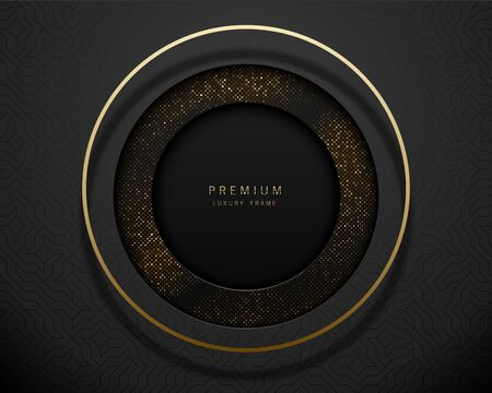 Vector black and gold abstract round luxury frame. Sparkling sequins on black background with volume golden ring. Premium label design. Foto de archivo - 140440879