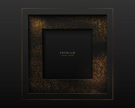 Vector black and gold abstract square luxury frame. Sparkling sequins on black background. Premium label design. Illusztráció