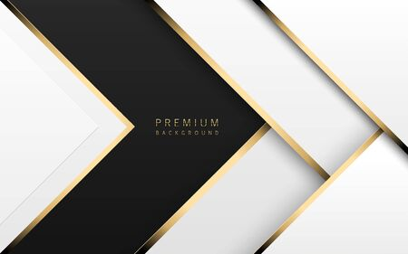 Vector luxury tech background. Stack of white paper material layer with gold stripe. Arrow shape premium wallpaper with black backdrop. Foto de archivo - 140441114