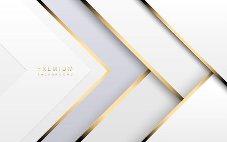 Vector luxury tech background. Stack of white paper material layer with gold stripe. Arrow shape premium light wallpaper. Ilustração