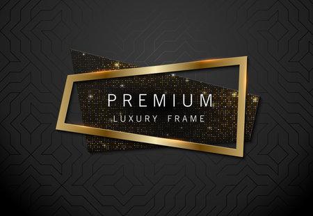 Vector geometric sparkling sequins banner with golden frame on black pattern background. Premium label design for logo or cover tagline.