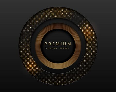 Vector black and gold abstract round luxury frame. Radial golden pattern, sparkling sequins on black background. Premium label design.