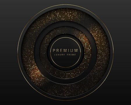 Vector black and gold abstract round luxury frame. Sparkling sequins on black background. Premium label design. Foto de archivo - 140442976