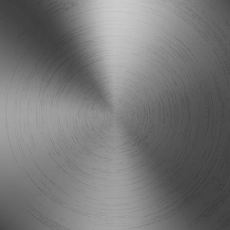 Radial polished texture gray metal background. Vector textured technology titanium background with circular polished, brushed concentric texture. Aluminum, nickel or stainless steel. Ilustração