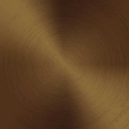 Radial polished texture bronze metal background. Vector textured technology brass color background with circular polished, brushed concentric texture. Gold, copper or golden color. Ilustração