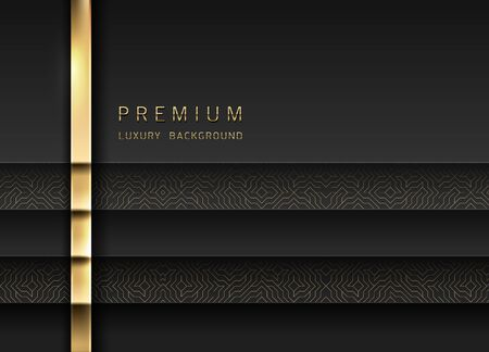 Vector luxury tech background. Stack of black paper material layer with gold stripe and golden geometric pattern. Premium design. Ilustração