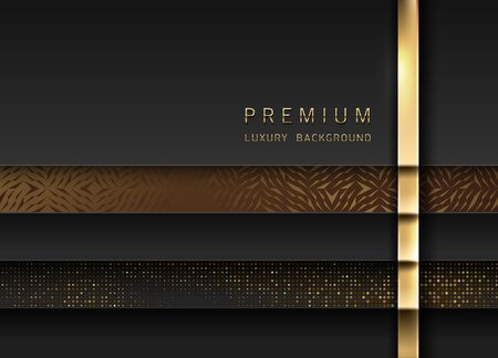 Vector luxury tech background. Stack of black paper material layer with gold stripe, sparkling sequins and golden geometric pattern. Premium design.