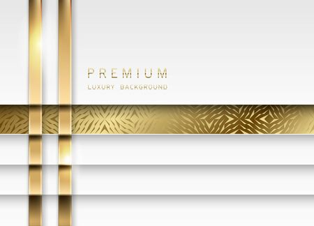 Vector luxury tech background. Stack of white paper material layer with gold stripe and golden geometric pattern. Premium wedding design.
