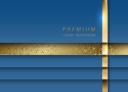 Vector luxury tech background. Stack of classic blue color paper material layer with gold stripe and golden geometric pattern. Premium design.