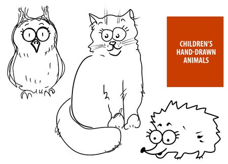 Cute hand drawn cartoon cat, owl, hedgehog for baby and children card designs or fabric print. Line art original vector illustration set isolated on white background.