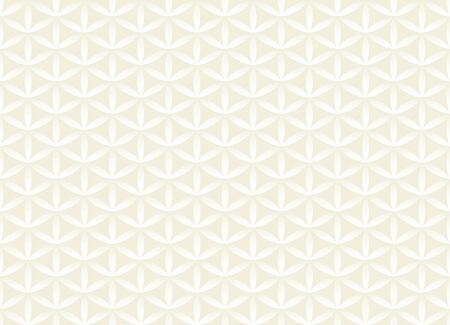Seamless volume white pattern. Flower of life design volume background. Floral repetitive light geometric texture or web page fill. Looks like scales or chain armor.