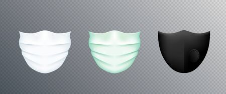 White medical mask isolated on transparent background. Doctor face surgical mask protection against pollution, virus, flu and coronavirus. Corona virus prevention. Vector overlay layer for design. Illusztráció