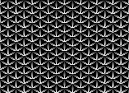 Seamless volume black and white pattern. Flower of life design volume background. Floral repetitive geometric texture or web page fill. Looks like scales or chain armor.