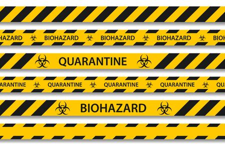 Vector biohazard danger yellow black seamless tape set isolated on white background. Safety fencing ribbon. Quarantine flu. Warning danger of influenza hazard. Global pandemic coronavirus COVID-19.