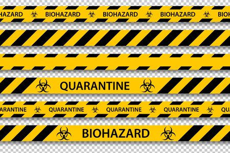 Vector biohazard danger yellow black seamless tape set isolated on transparent background. Safety fencing ribbon. Quarantine flu. Warning danger influenza hazard. Global pandemic coronavirus COVID-19.