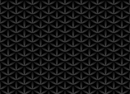 Seamless volume black pattern. Flower of life design volume background. Floral repetitive dark geometric texture or web page fill. Looks like scales or chain armor. Ilustração