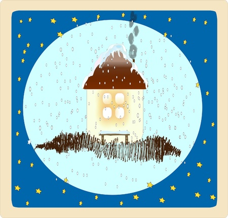 Funny winter card.  illustration. illustration