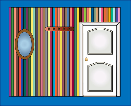 vector illustrator. Door and a mirror on the wall Stock Vector - 8396434