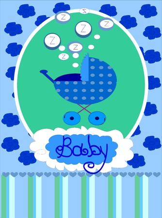 Baby boy arrival announcement card, photo