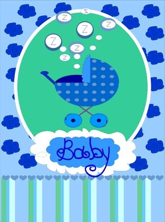 Baby boy arrival announcement card, photo