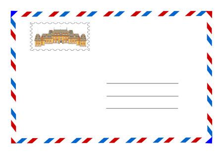 sello postal: vector envolvente y sello
