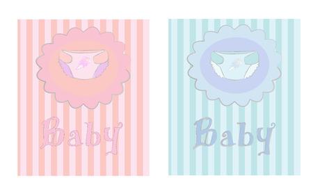 Children's postcard with diapers, vector