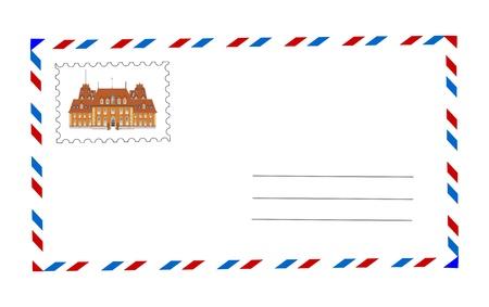 envelope and postage stamp illustration Stock Illustration - 9173741
