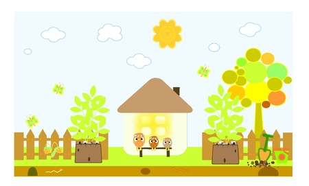 house and the chicks vector Stock Vector - 9945968