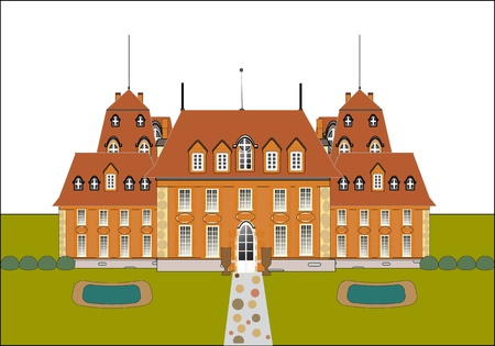 old building facade: cute card. castle vector