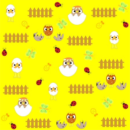 Seamless  flowers and birds background pattern  photo