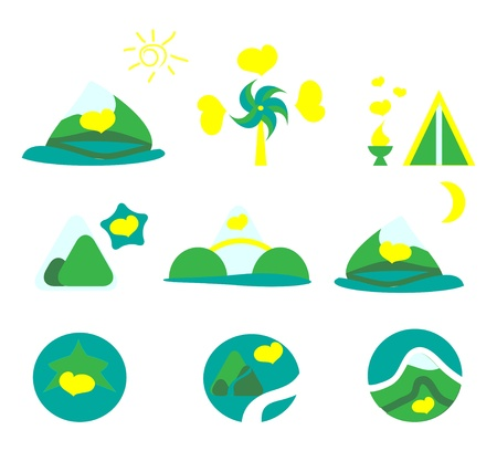 Nature, tourism and mountains icon set. Collection of 9 design elements.  vector Vector