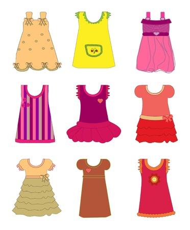 papel scrapbook: Vestidos para las ni�as de vectores