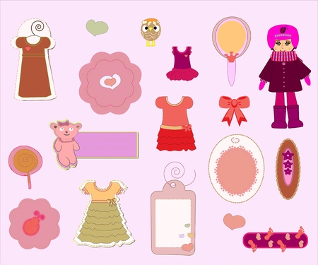 Scrapbook Girl Set - design elements vector Stock Vector - 10180298