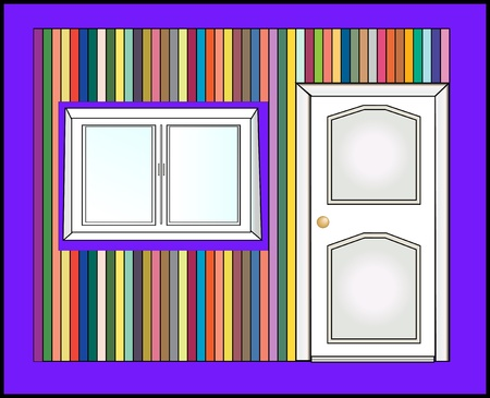 door and colorful wall vector