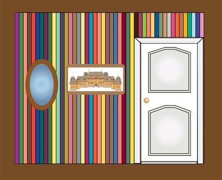 wall, door, picture and mirror vector