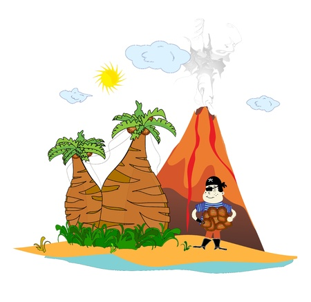 island with a volcano and a pirate vector Vector
