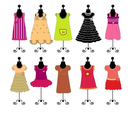 druckerei: Kleider f�r M�dchen-Vektor
