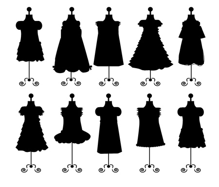 dresses. silhouettes. set. vector